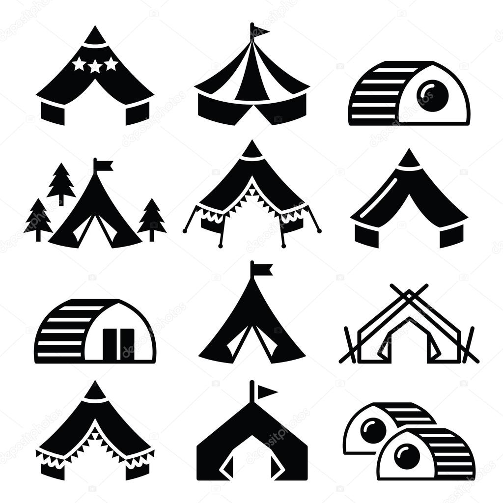Glamping Luxurious Camping Tents And Bambu Houses Icons