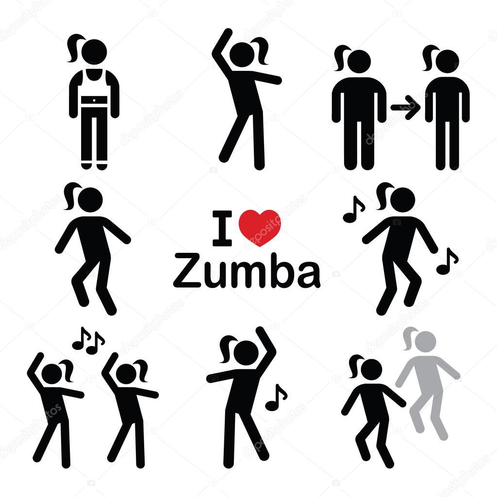 Zumba Dance Workout Fitness Icons Set