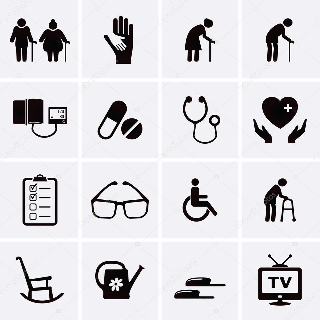 Rentner Und Altenpflege Icons