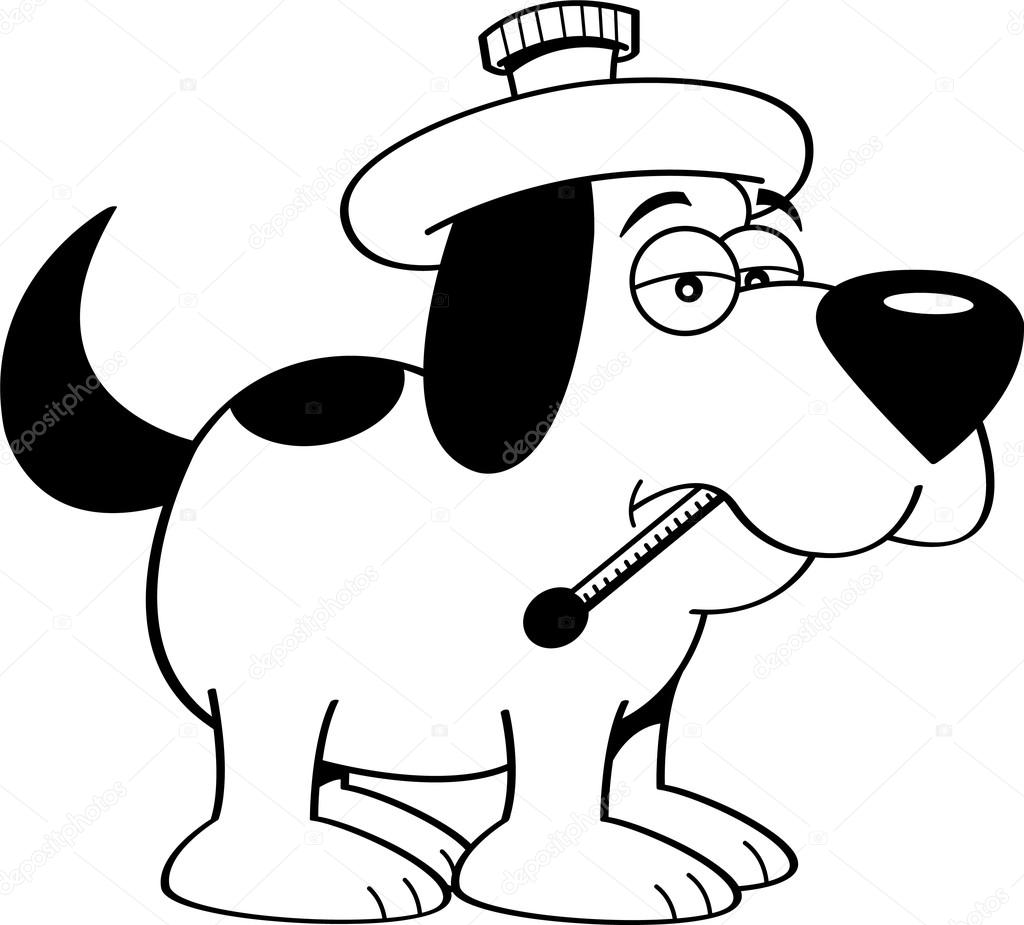 Cartoon Sick Dog With A Thermometer
