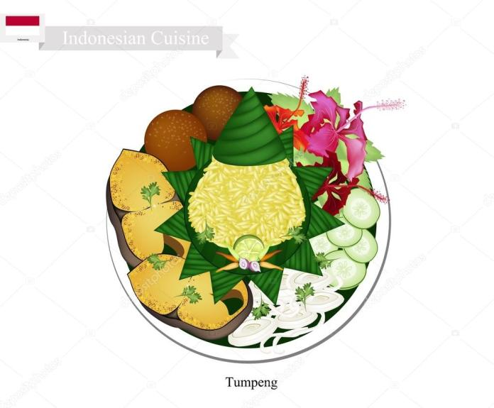 Tumpeng Or Indonesian Cone Shaped Rice With Various Indonesian Dishes Vector Image By C Iamnee Vector Stock 113411896