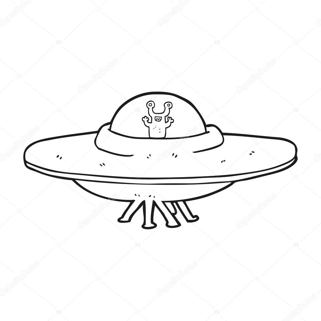 Zwart Wit Cartoon Alien Ruimteschip