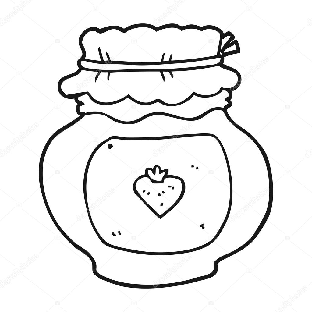 Black And White Cartoon Jam Jar