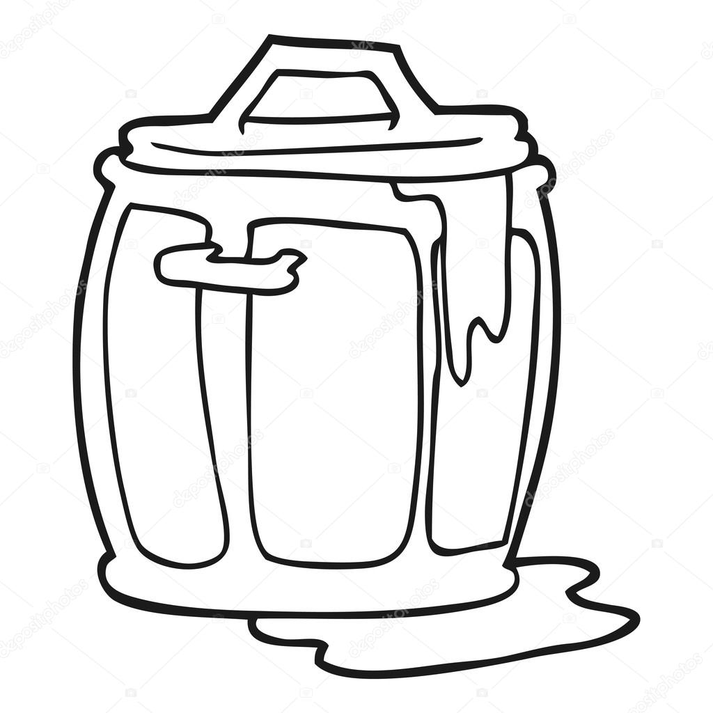 Black And White Cartoon Dirty Garbage Can