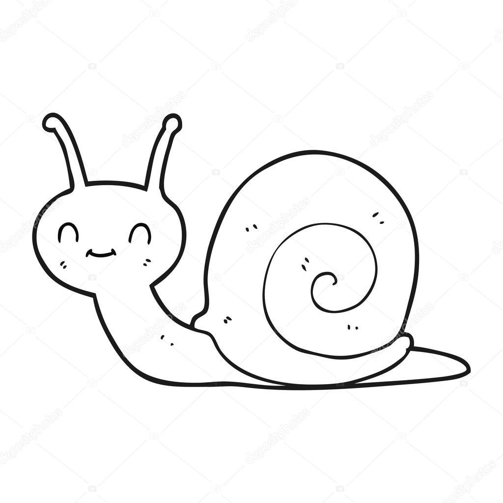 Black And White Cartoon Cute Snail