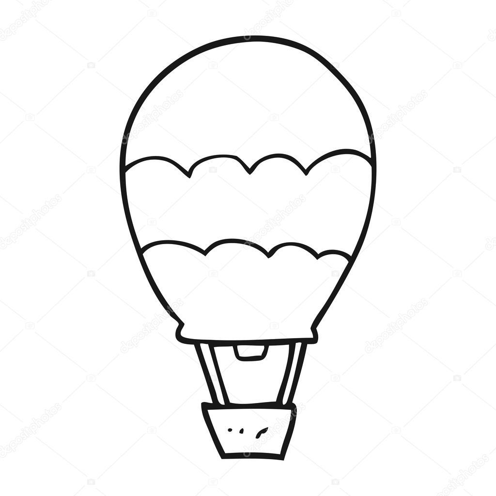 Black And White Cartoon Hot Air Balloon