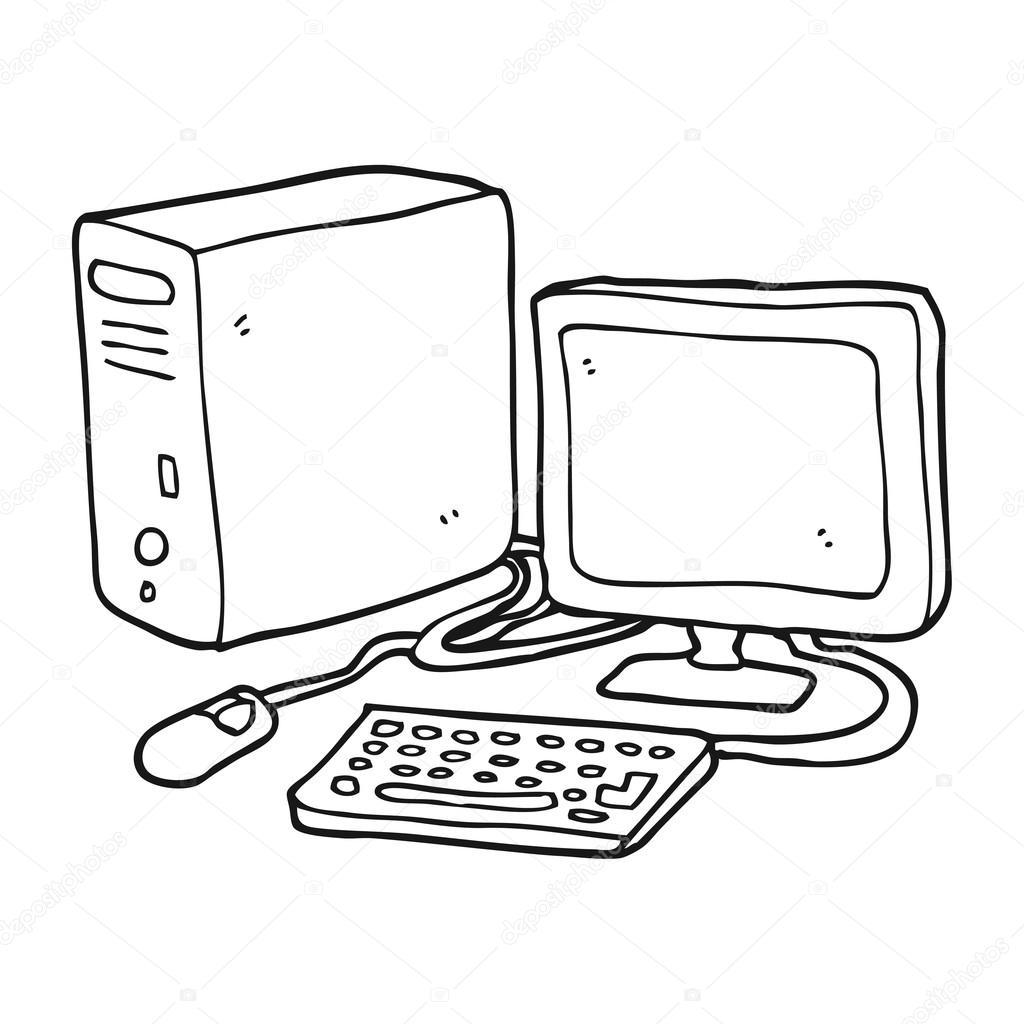 Computador Desenho Preto E Branco