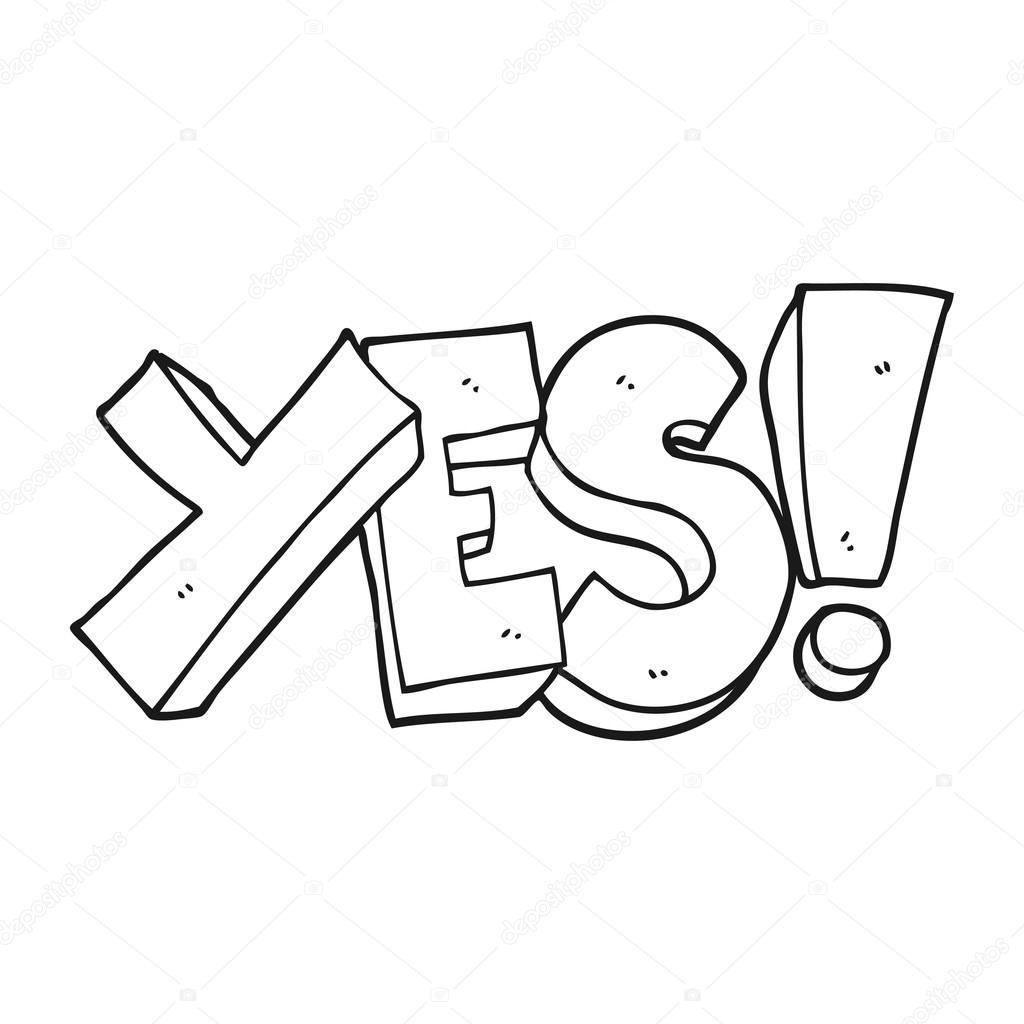 Black And White Cartoon Yes Symbol