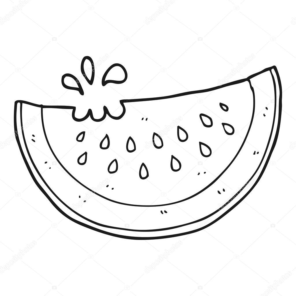 Zwart Wit Cartoon Meloen Segment