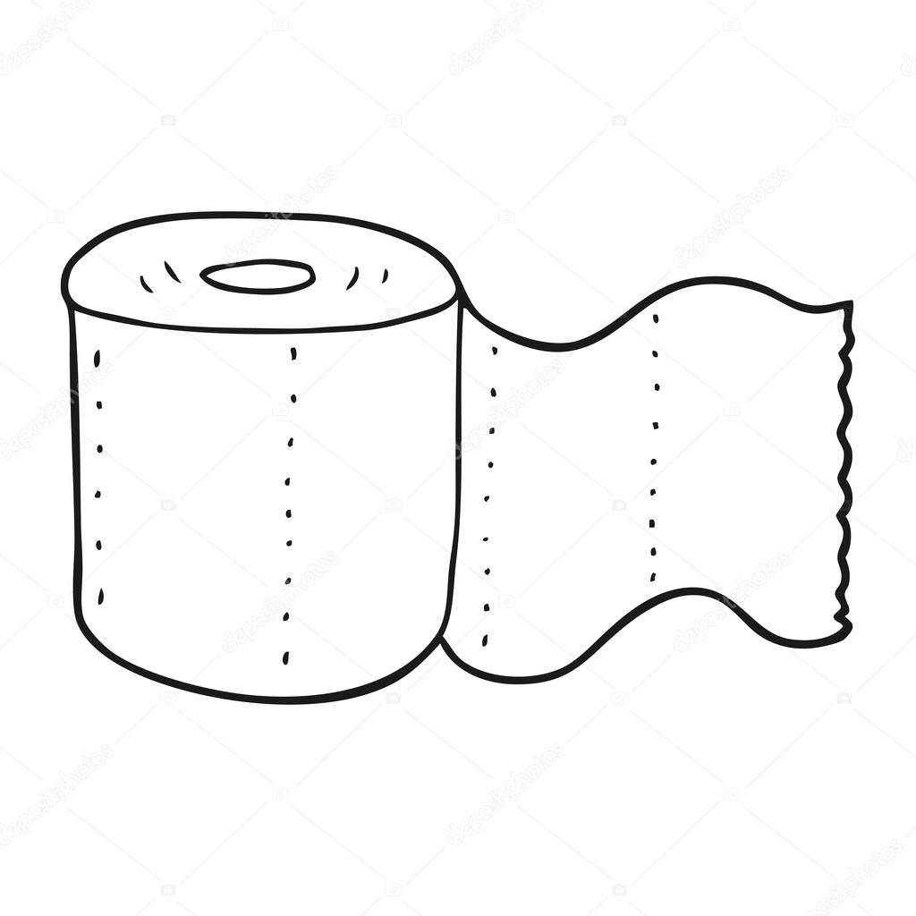 Black And White Cartoon Toilet Paper
