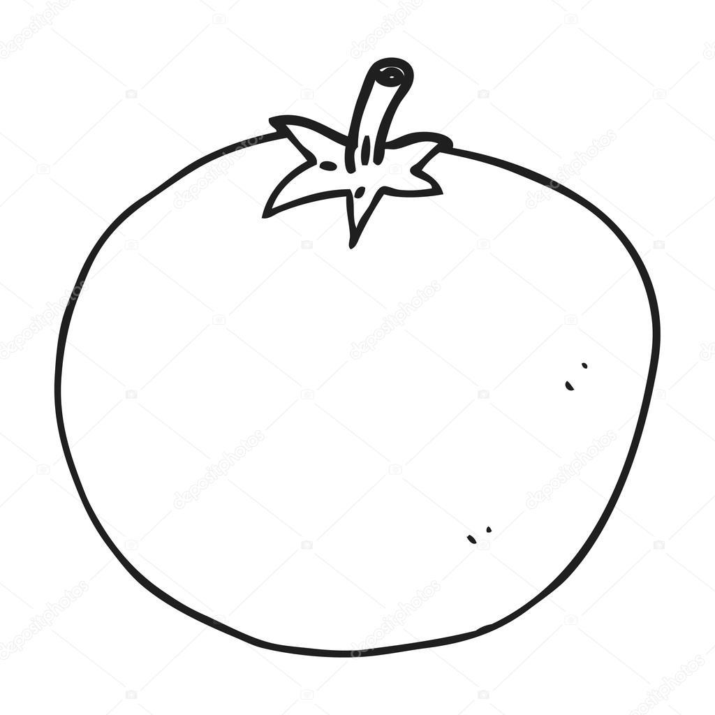 Tomate Preto E Branco Dos Desenhos Animados