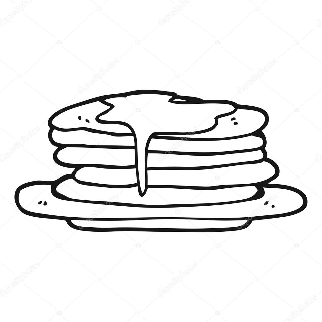 Black And White Cartoon Stack Of Pancakes