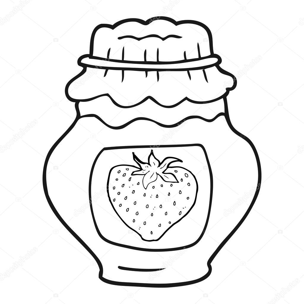 Black And White Cartoon Jar Of Strawberry Jam