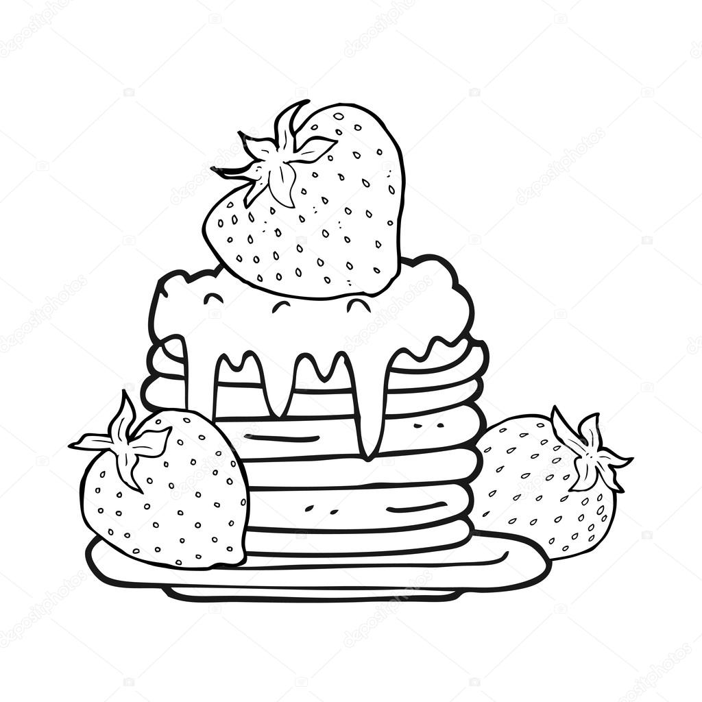 Black And White Cartoon Pancake Stack With Strawberries