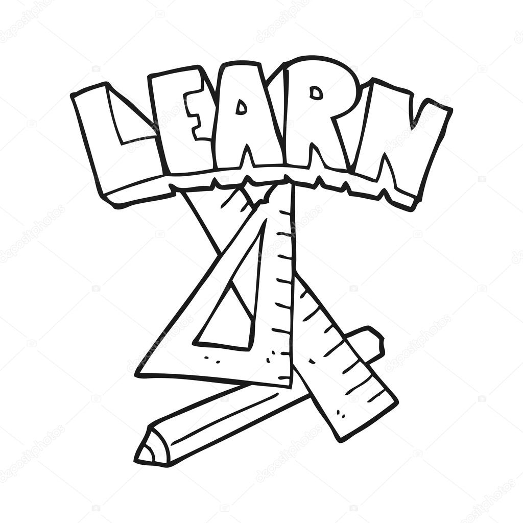 Black And White Cartoon Pencil And Ruler Under Learn