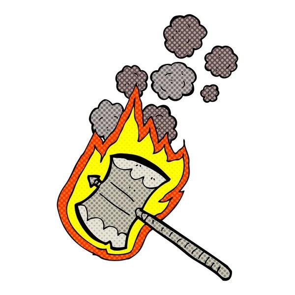 comic cartoon flaming axe — Stock Vector © lineartestpilot ...