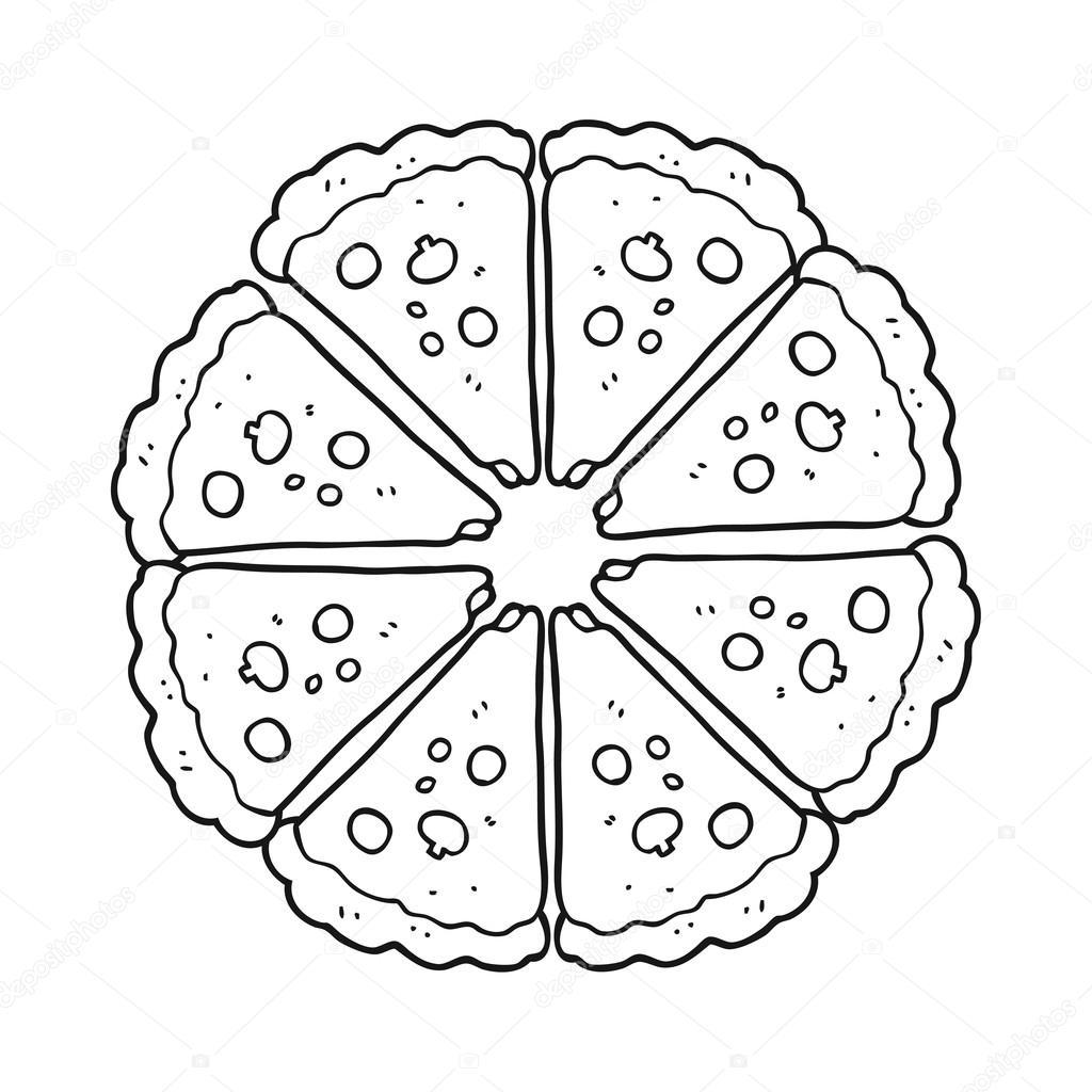 Zwart Wit Cartoon Pizza
