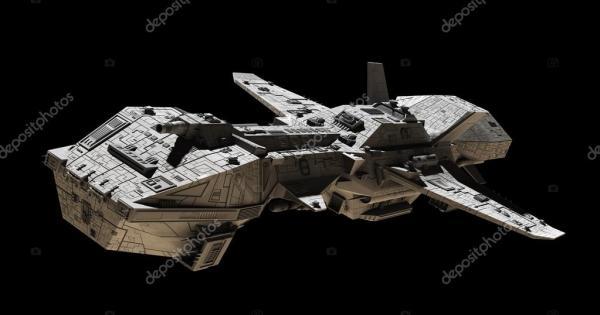 Interstellar Escort Frigate Space Ship side view Stock