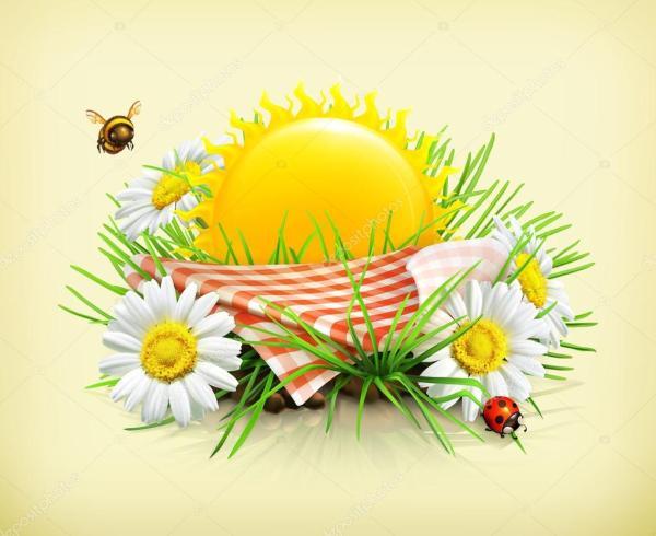 Лето, время на фоне пикник — Векторное изображение ...