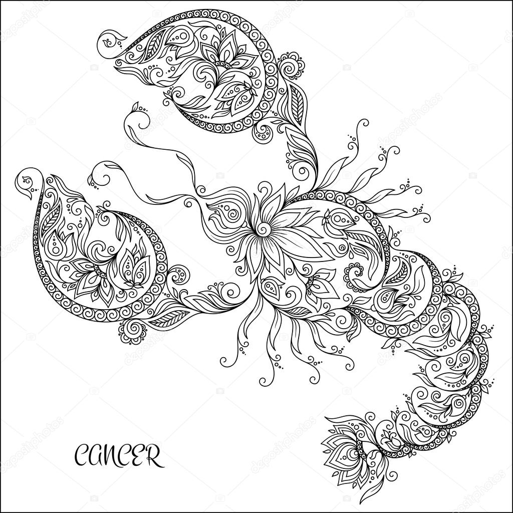 Hand Drawn Pattern For Coloring Book Zodiac Cancer