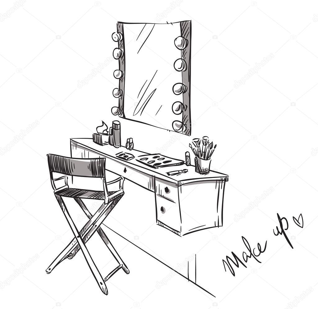 Conforman Mesa De Vanidad E Ilustracion De Silla Plegable