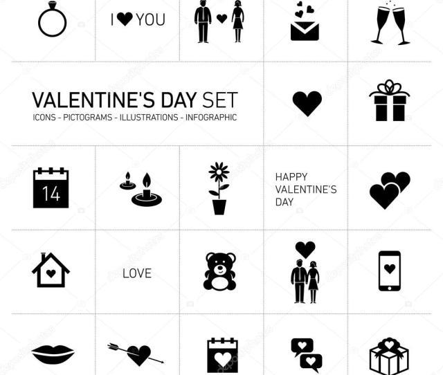 Happy Valentines Day Icons Stock Vector