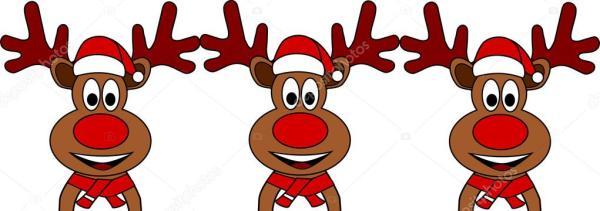 Rennes de Noël avec chapeau et le nez rouge — Photographie ...