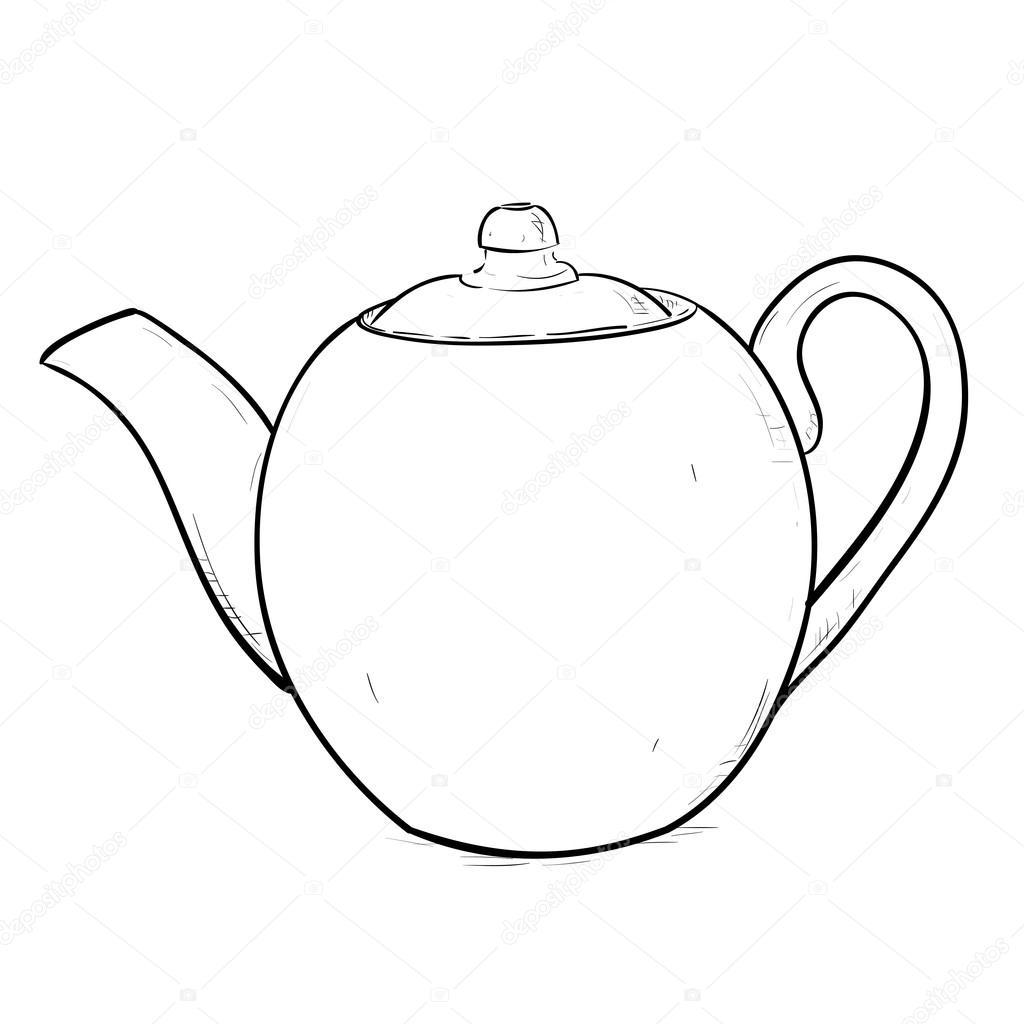 Outline Sketch Of Teapot