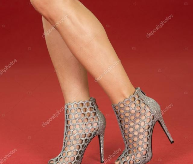 Sexy Legs In Fancy High Heels On The Red Carpet Stock Photo