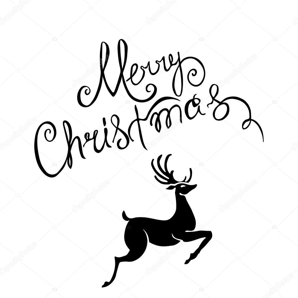Jele Merry Christmas Plakat Szablon