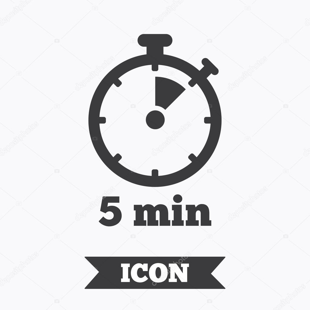 Timer Sign Icon 5 Minutes Stopwatch Symbol
