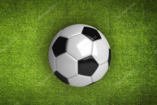 fond vert avec ballon de foot — Photographie sonerbakir ...