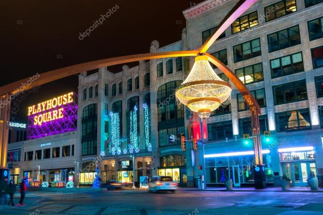 Of Cleveland S Splashiest New Landmarks Is The Giant Chandelier Suspended Above Euclid Avenue In Center Theater District Playhouse Square