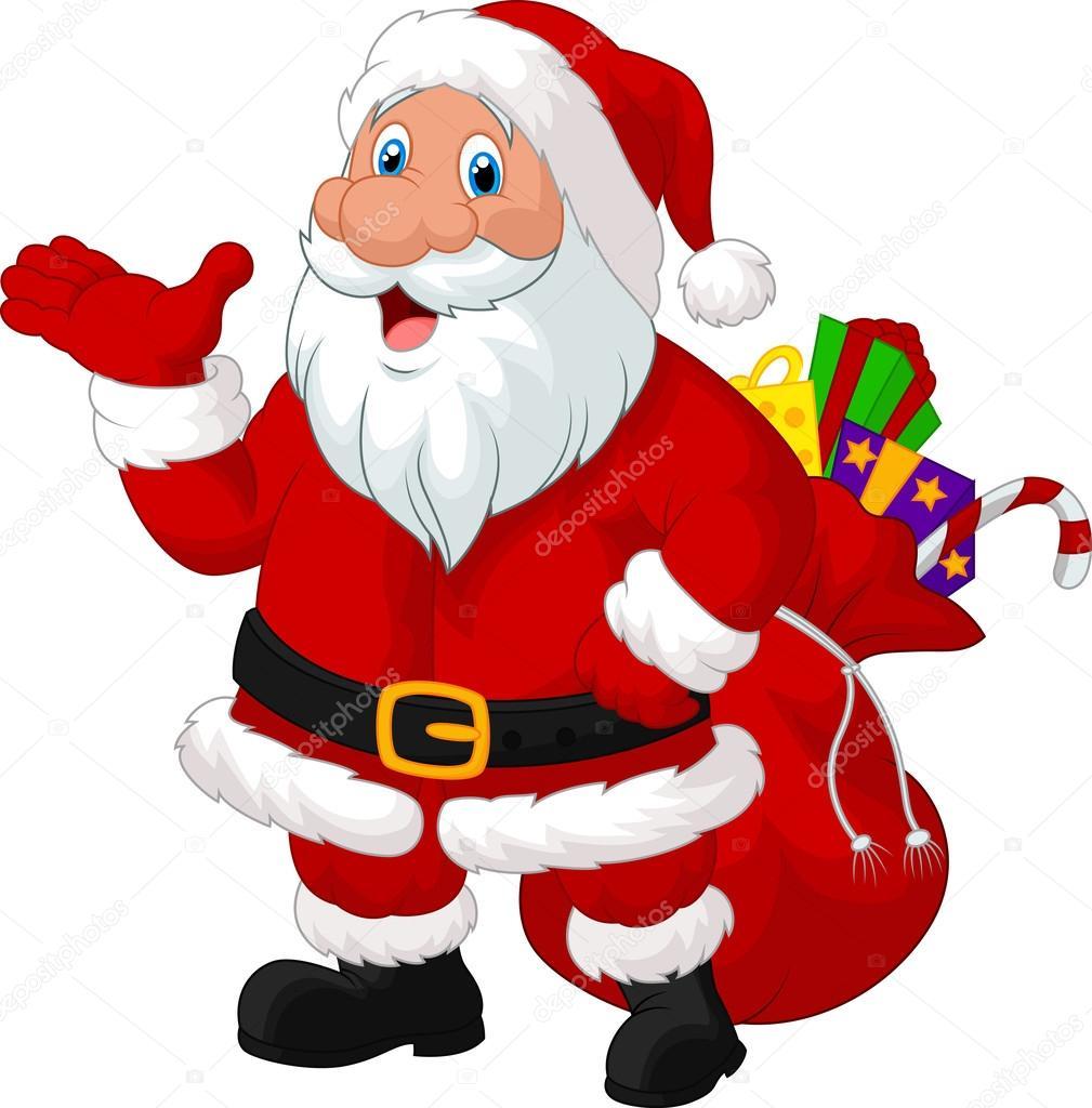 Desenho De Papai Noel Feliz Com Saco Vetor De Stock