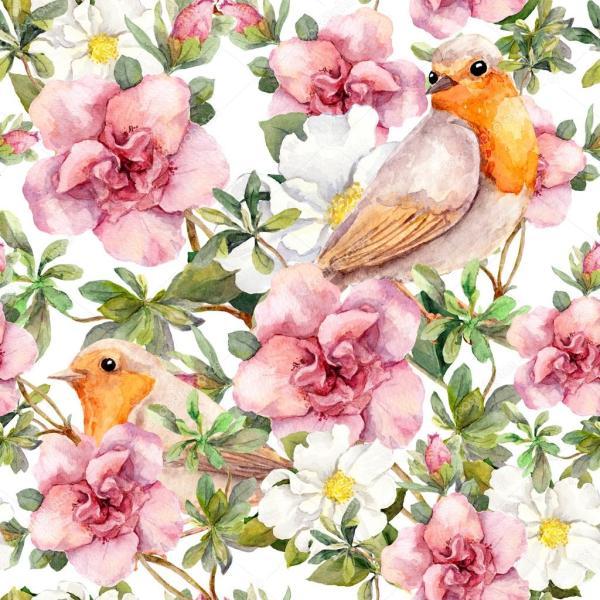 Акварель птицы и цветы Акварель. Бесшовный цветочный фон ...