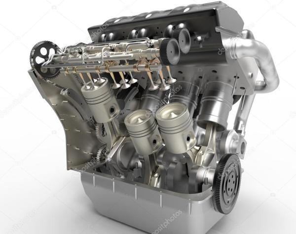 Фото: v8 двигатель. Turbo V8 двигатель автомобиля на белом ...