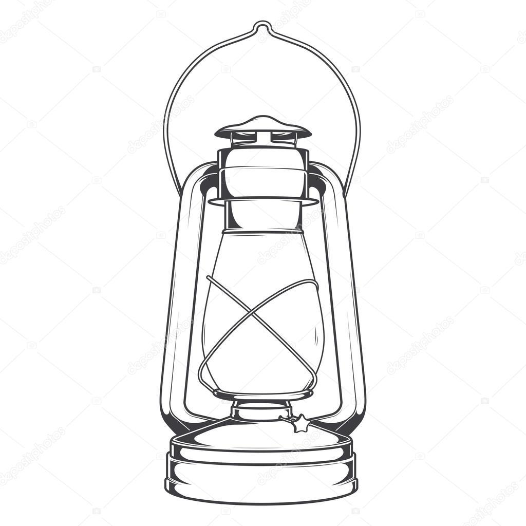 Antique Old Kerosene Lamp Isolated On A White Background