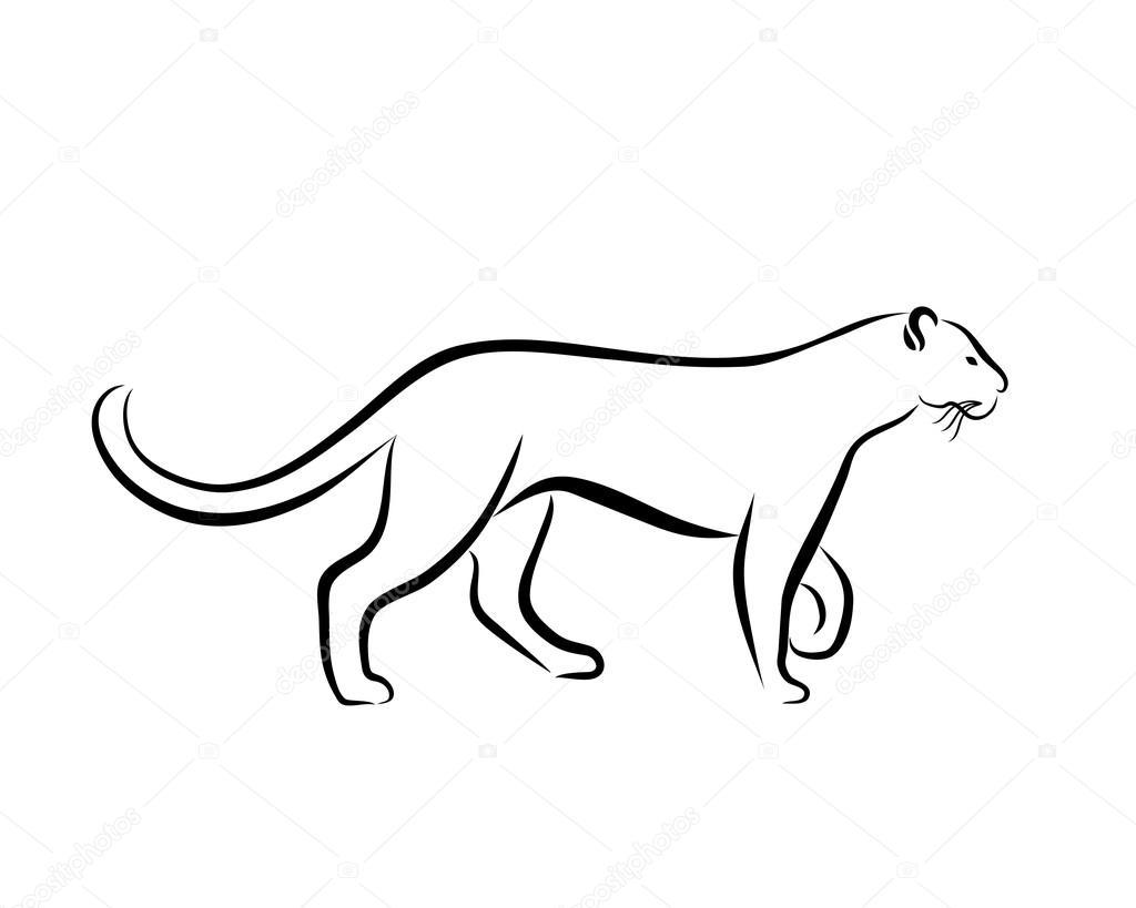 Grace Panther Ink Line Art