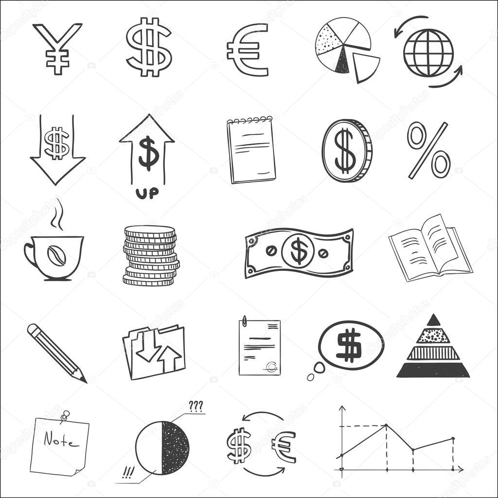 Hand Zu Zeichnen Business Finanzen Doodle Skizze Geld Ii