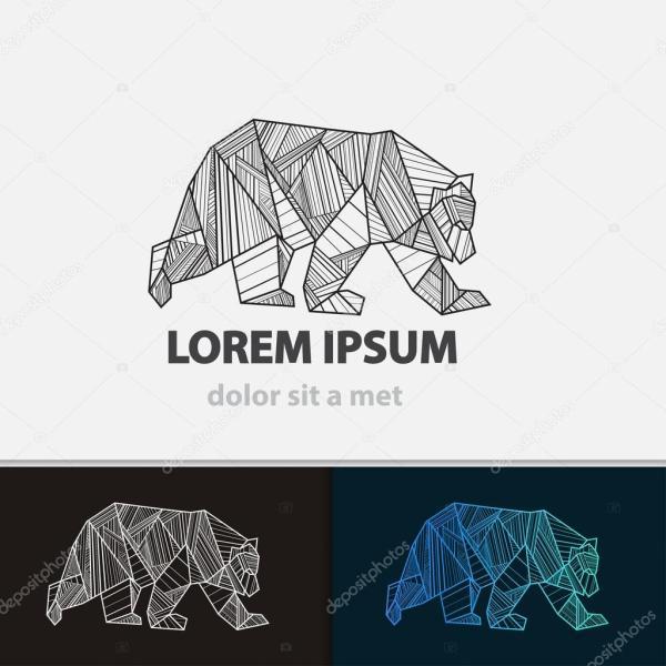 Картинки линиями. Медведь творческий стилизованные значок ...