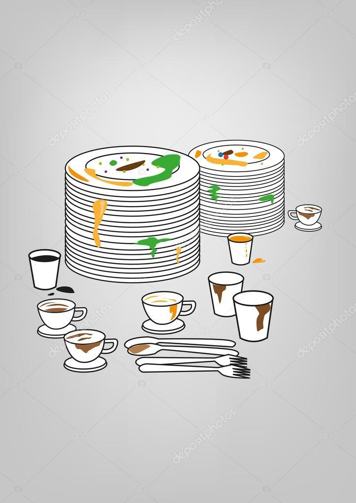 Illustration Der Schmutziges Geschirr Tassen Und Teller