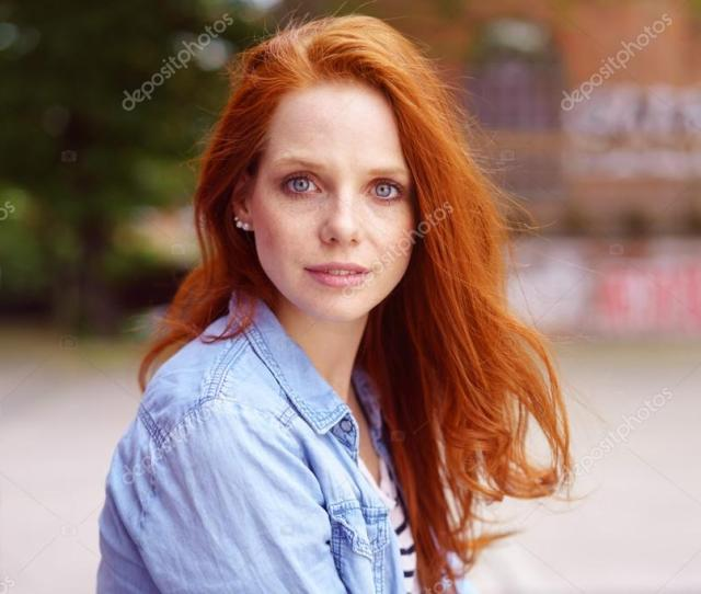 Gorgeous Redhead With A Serious Expression Stock Photo