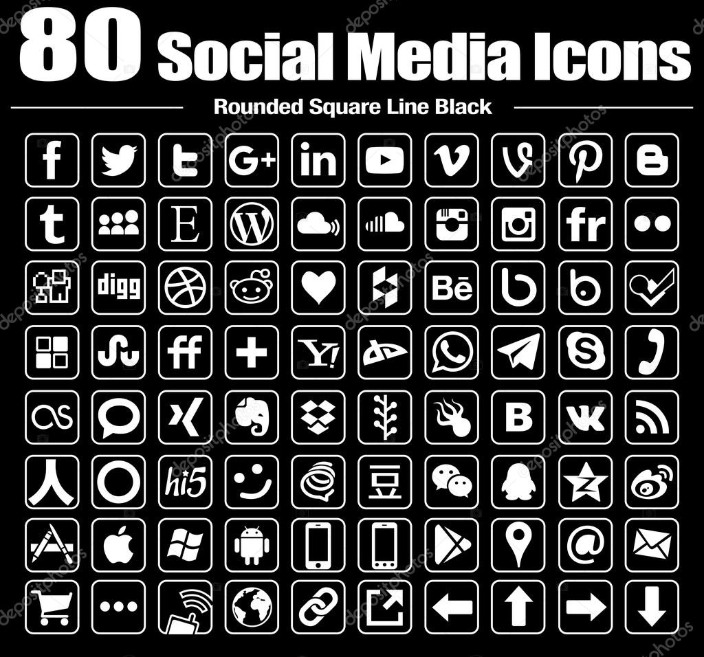 vector round social media icons white