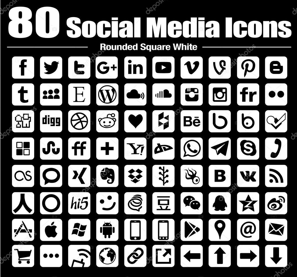 Vector rounded square Social Media Icons