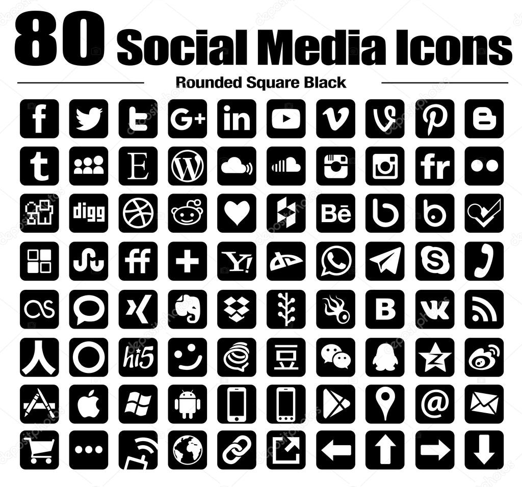 Vector rounded square social media icons black and white transparent background