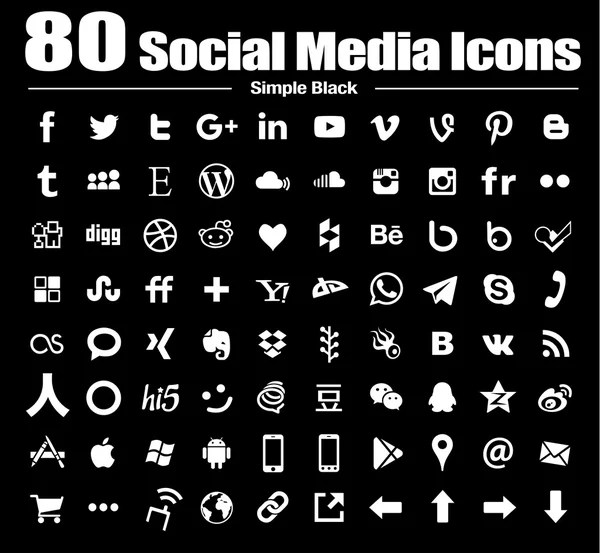 vector simple flat social media icons white