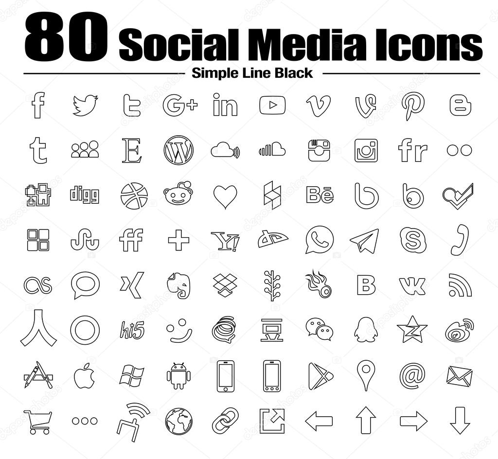 Line Social Media Icons Black