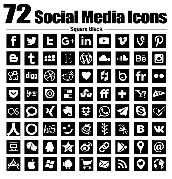 Square black social media icons