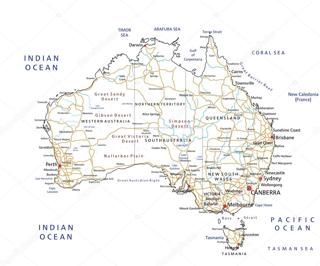 Australia Road Map With Labeling