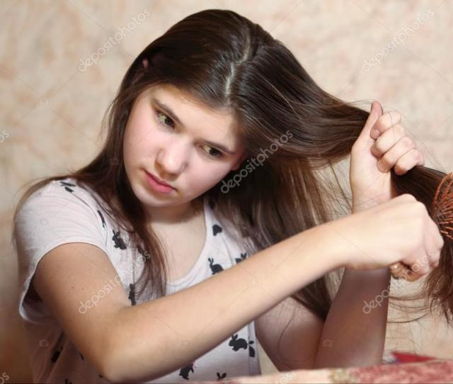 Beautiful Teen Girl Try To Comb Her Long Dark Thick Hair Photo By